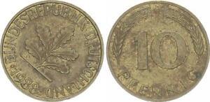 10 Pfennig 1988 F Germany 10Pf. J.383 Lack Coinage Stempeldrehung, VF 51441
