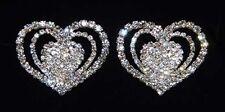 Gorgeous Pave Open Triple Heart  Shoe Clips Charms--1 Pair-Bridal Party-