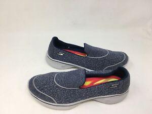 744e7eb22b67 NEW! Skechers Women s GOWALK 4 SUPER SOCK Slip On Shoes Navy Gray ...