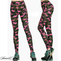 Womens Footless Slim Fit Camouflage Military Yoga Sports Pants Stretchy Legging