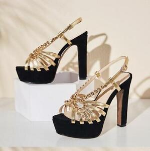 Slingback Sandali strass Womens Piattaforma Creeper alti con Sandali tacchi Shoes con Pump Wedge qwXf7