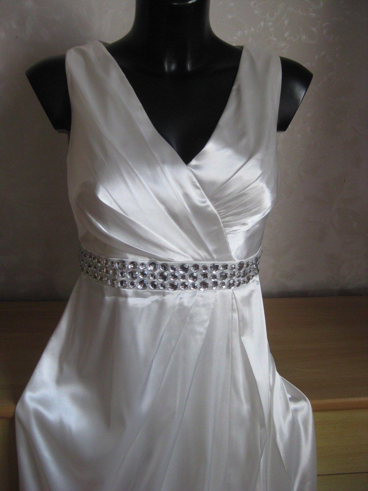 Neu ET  Apart Glamour  Abend-, Hochzeitskleid Gr. 34 Weiß BodenLang Satin Strass