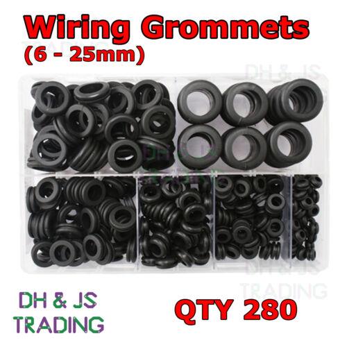 Assorted Box of Wiring Grommets 280 Open Grommet Blind Plug Gromet Bung Bungs