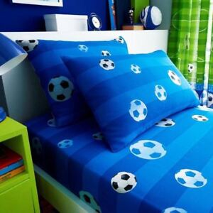 But-Football-Drap-Simple-amp-Set-Taie-D-039-Oreiller-Literie-Bleu-Enfants