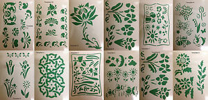 Image Is Loading Wall Painting Stencil Reusable Flower Leaf Border Design