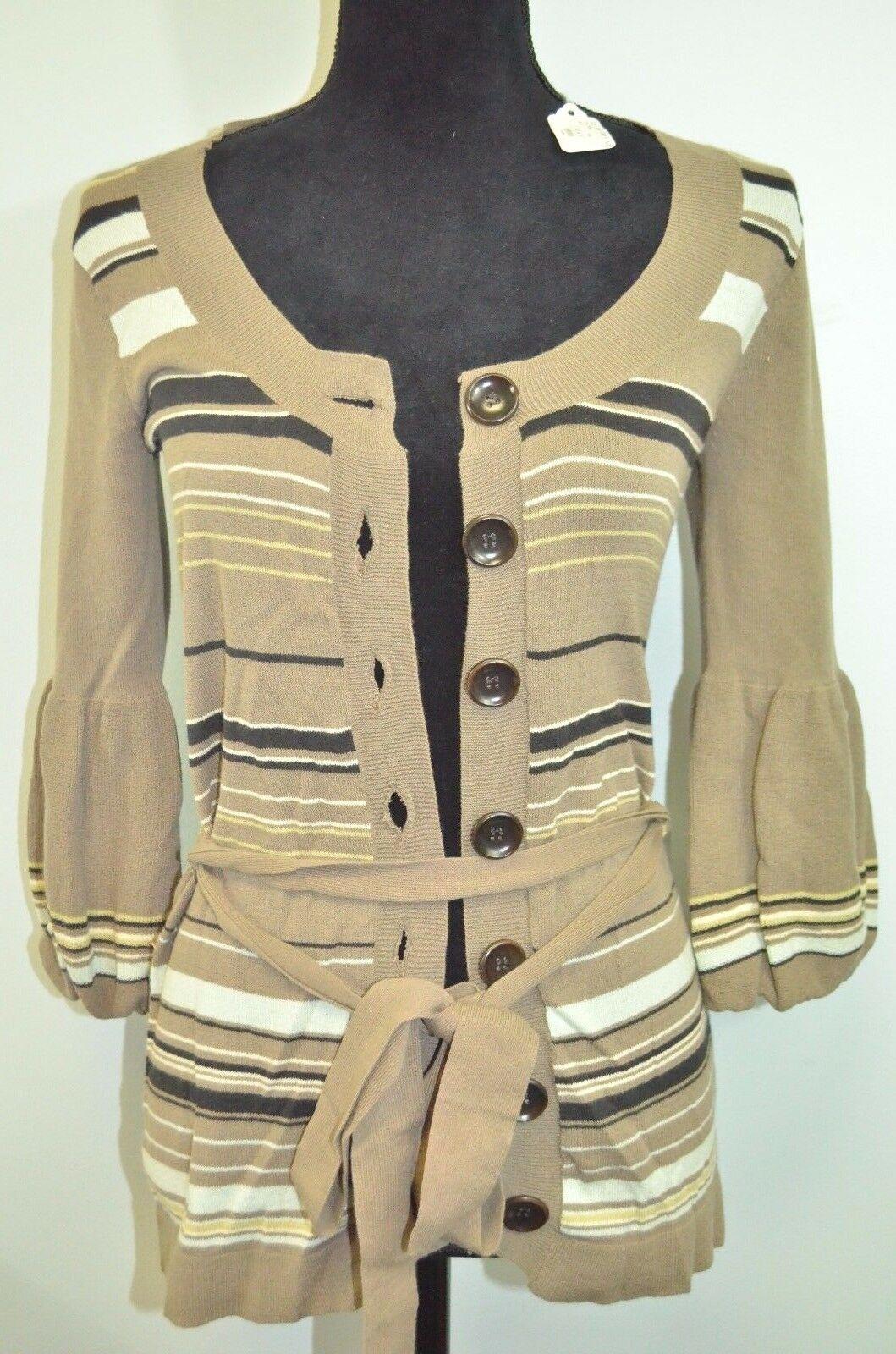 NWT Women's Nanette Lepore Brown Buttoned Striped Cardigan Size M MSRP