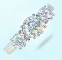 1.5 Ct Three Stone Ring Vintage Russian Cubic Zirconia Imitation Moissanite 5.5