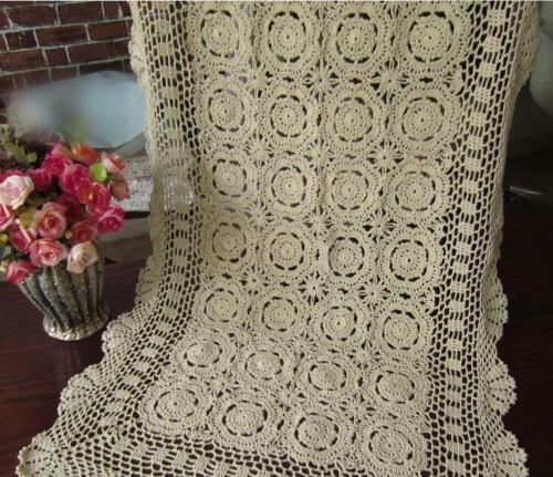 Vintage Crochet Table Runner Handmade Cotton Lace Doilies Mats 50x100cm Wedding