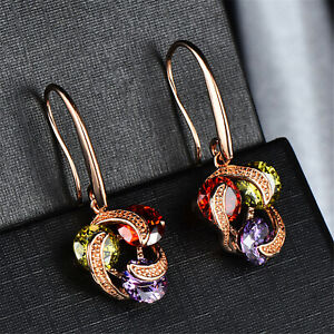 18K-Rose-Gold-Three-Color-Zircon-Drop-Dangle-Hook-Earrings-Women-Jewellery-Gifts
