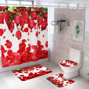 3D-ROSE-PRINT-BATH-RUG-SHOWER-CURTAIN-MAT-TOILET-LID-COVER-BATHROOM-TOILET-SET