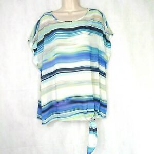 Chicos-Top-Blouse-Sheer-Women-Size-3-XL-16-Blue-White-Stripe-Tie-Hem-Short-Slv