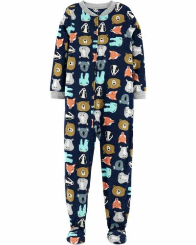 Carters Fleece Footed pajama Blanket Sleeper Size 14 Animals Bear Rhino Fox