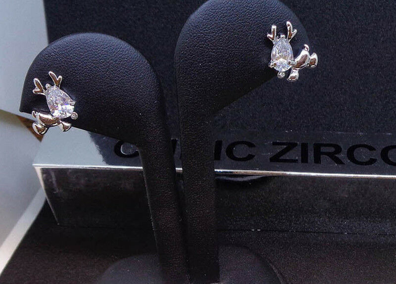 Reindeer Designer Cubic Zirconia Earrings White Gold Pl