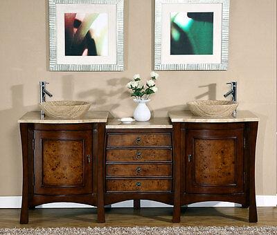 72-inch Modern Travertine Top Double Bathroom Vessel Sink Vanity Cabinet 0714TR