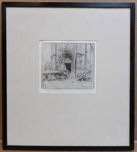 Market-by-a-French-Cathedral-Etching-by-listed-artist-Charles-Watson-RE-1905