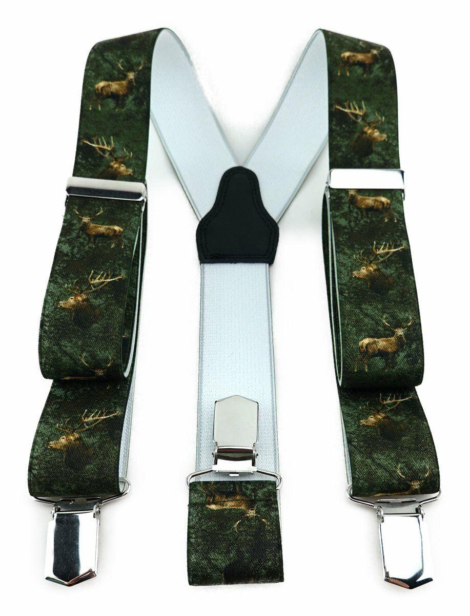 TigerTie Unisex Hosenträger - 3 extra starke Clips - grün braun mit Hirschmotiv