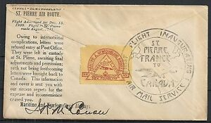 Canada 1930 1st Flightcover to St.Pierre + special LABEL signed!