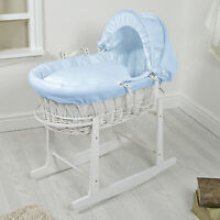 4baby White Wicker / Blue Waffle Padded Baby Moses Basket & Rocking Stand