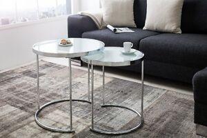 Designer Couchtisch 2er Set Chrom Weiss Tisch Beistelltisch Zigon