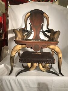 Antique American Steer Horn Arm Chair and Ottoman 1800's leather