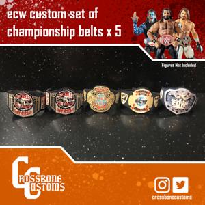 5-x-Custom-ECW-WWE-Championship-Belts-for-Mattel-Jakks-Hasbro-Figures