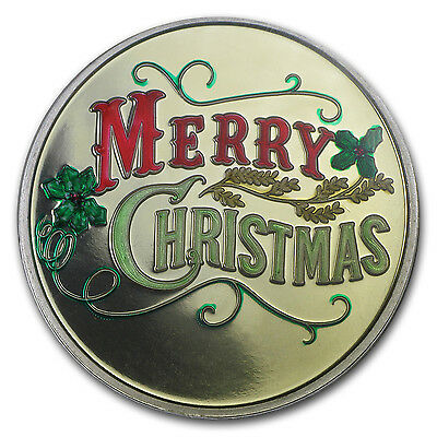 1 oz Merry Christmas Enameled Silver Round - with Gift Packaging - SKU #84730
