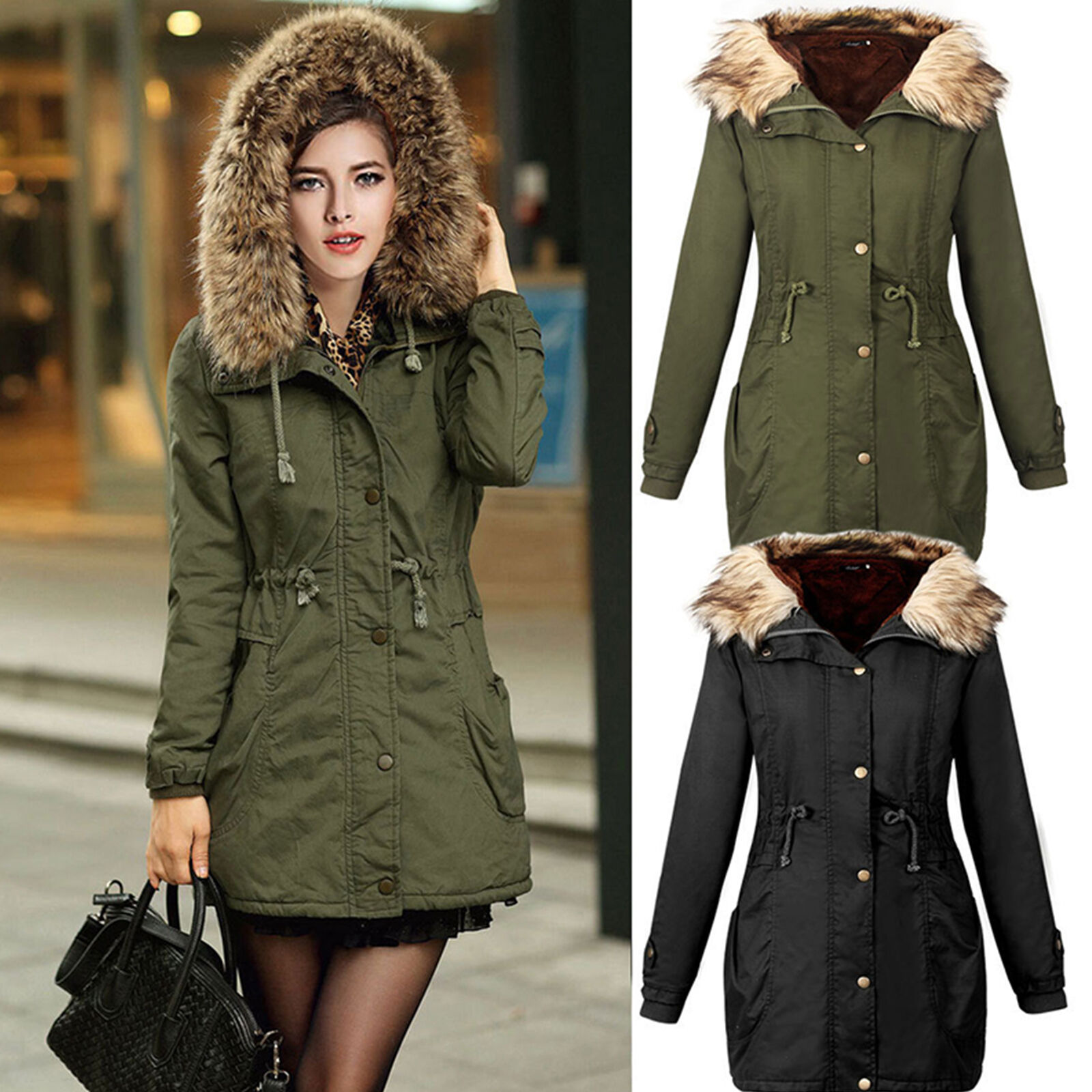 Womens Thicken Fur Collar Hooded Outwear Jacket Winter Warm