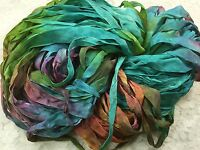 Trim Ribbon 1/2 Rayon 25 Yds Hand Dyed Stained Glass Yarn