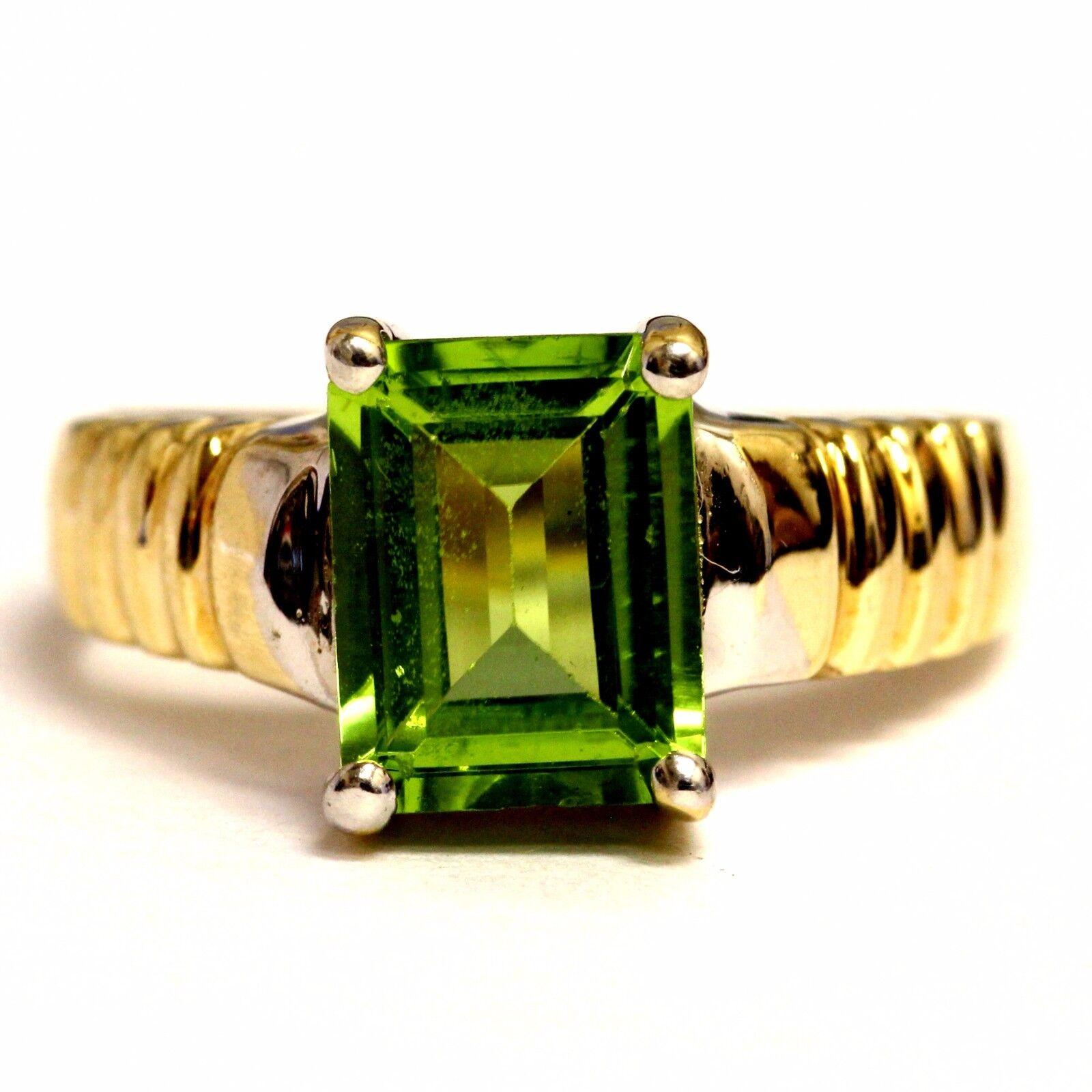 .10k white yellow gold imitation peridot gemstone ring 3.9g estate vintage women
