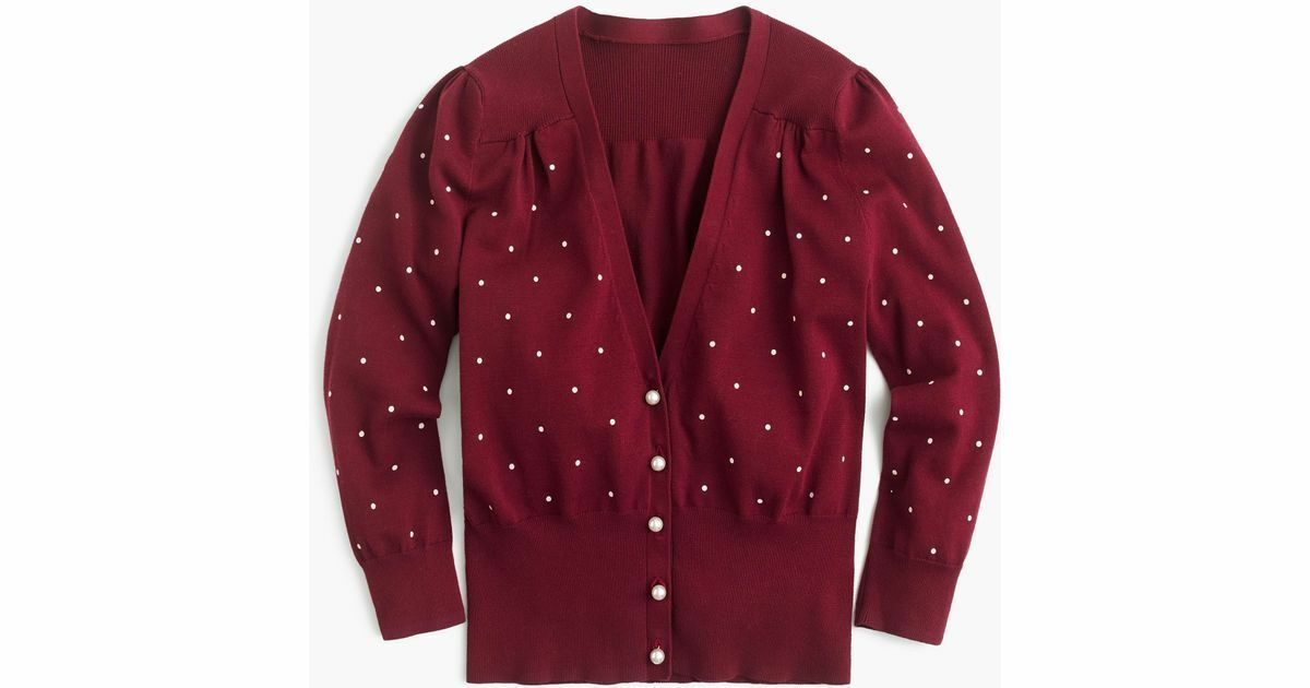NWT J Crew Fitted Cardigan Sweater in Tiny Dots in red - Sz M