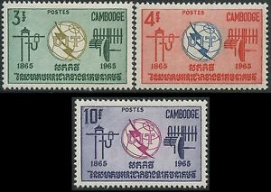 Cambodge N°161/163* Telecommunications Uit 1965, Cambodia Itu Emblems Set Mlh