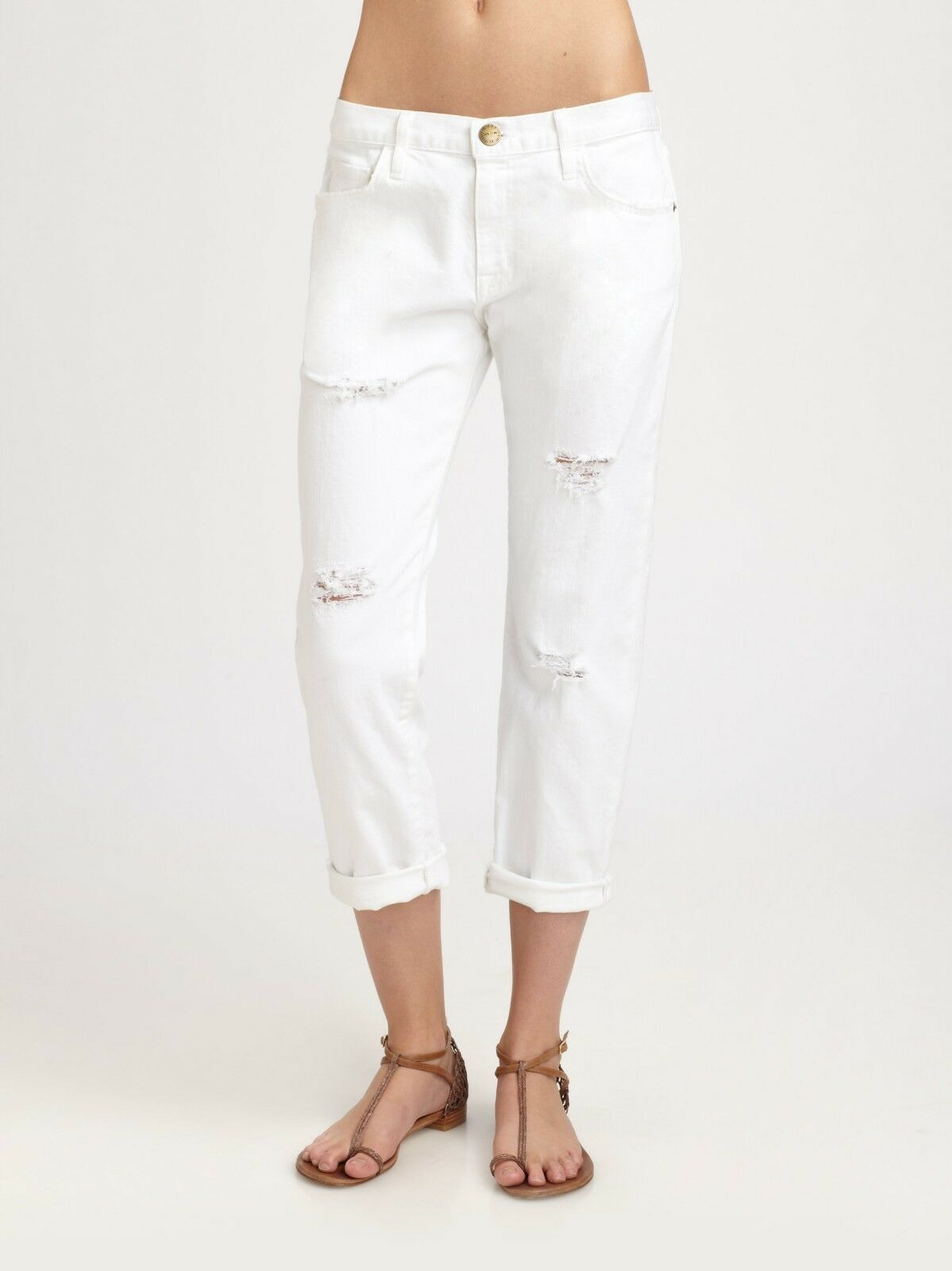 NWT Current Elliott The Boyfriend in Sugar Destroy White Slouchy Crop Jeans 30