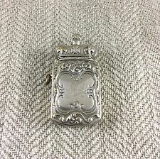 Antique Vesta Case Silver Plated Match Safe Holder Victorian Edwardian Crown