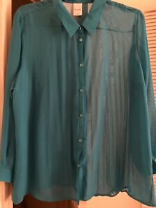 2b74d1fe51b09 Details about Blair 2X Blue Pleated Sheer Button Down Long Sleeve Women's  Plus Size Top NWOT
