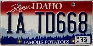 Idaho Famous Potatoes American License Licence USA Number Plate Tag 1A TD668
