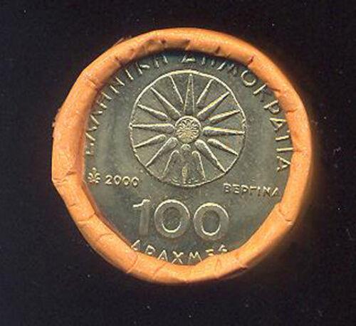1 ITEM GREECE 2000 100 DRACHMAS ALEXANDER THE GREAT UNC VERGINA SUN COIN