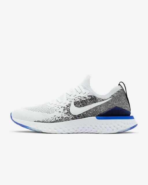 san francisco c3cb0 9e68b Nike Men's Epic React Flyknit 2 Running Shoes White/Black/Racer Blue  BQ8928-102