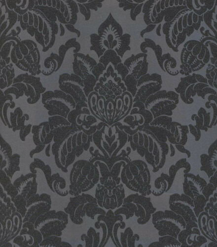 Damask Wallpaper Glitter Glisten Shiny Shine Metallic Dark Grey Charcoal
