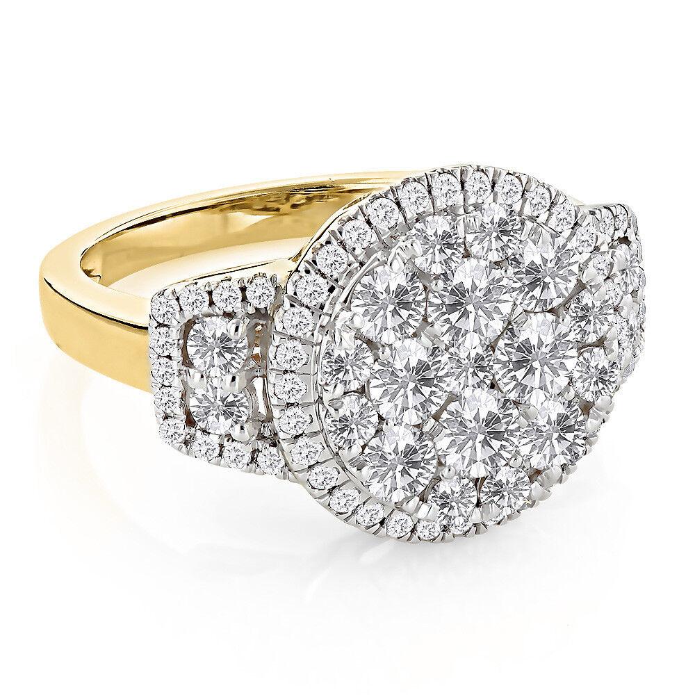 14K Yellow Gold Over 1.85 Ct Round Cut Diamond Wedding Womens Engagement Ring