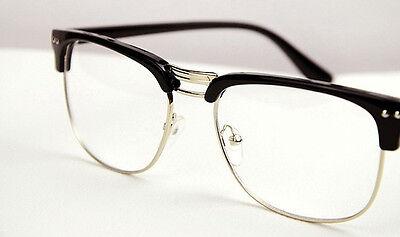 Fashion Hipster Vintage Retro Classic Half frame glasses Clear Lens Nerd Eyewear
