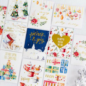 12pcs-Merry-Christmas-Flowers-Postcard-Gift-Card-Handmade-Popular-Card-N7
