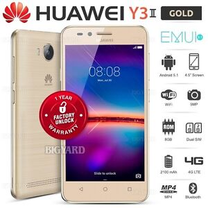 New-Unlocked-HUAWEI-Y3ii-2-Gold-4-5-034-FWVGA-Dual-SIM-4G-LTE-Android-Mobile-Phone