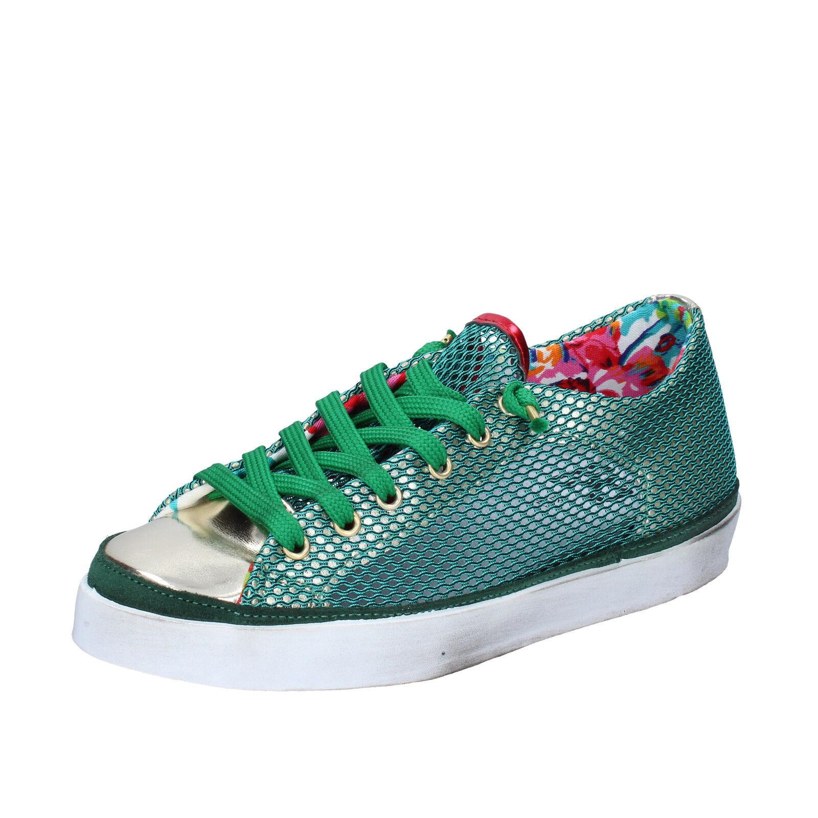 Scarpe donna verde 2 STAR 36 scarpe da ginnastica verde donna tessuto pelle BZ534-B 559b86
