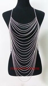 Fashion-Style-B46-Women-Silver-Plated-Chains-Multi-layers-Full-Body-Jewelry