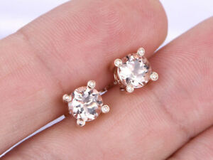 1-CT-Round-Cut-Morganite-14K-Rose-Gold-Over-Diamond-Solitaire-Stud-Earrings