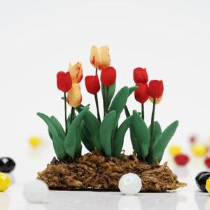 1Pc 1:12 Dollhouse Miniature Garden Ornament Tulips Green Plant Flower Gar ES