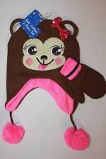 item 4 NEW Girls Trapper Critter Hat Mittens Set Knit Cap Brown Pink Monkey  Ear Flaps -NEW Girls Trapper Critter Hat Mittens Set Knit Cap Brown Pink  Monkey ... e1dac8db2637