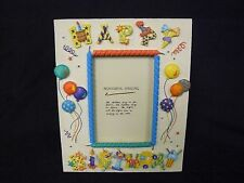 "Happy Birthday Color Balloons Resin Frame Prinz 8"" x 6.5"" for 3.5"" x 5"" photo"