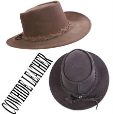 30c1622d ... -NEW MENS WOMENS LADIES BLACK BROWN LEATHER AUSSIE COWBOY BUSH HAT S M  L XL 2XL. £23.99. + £2.99 postage. Jaxon & James Hats The Author Wide Brim  Fedora ...