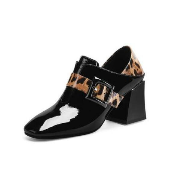 donna Trendy Round Toe Buckle Strap Leopard Print Patent leather Ankle stivali